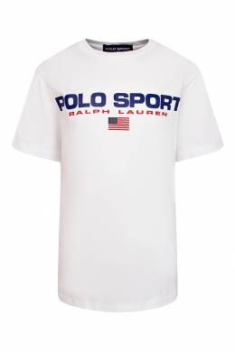 Белая футболка со стилизованным логотипом Ralph Lauren Kids 1252151751