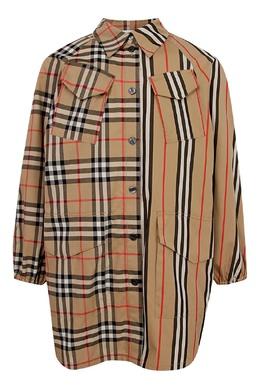 Платье рубашка с комбинированным узором Burberry Kids 1253151652