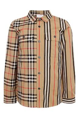 Комбинированная рубашка Burberry Kids 1253151600