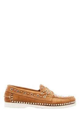 Бежевые туфли Yacht Spikes с заклепками Christian Louboutin 10695579