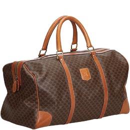 Celine Brown Leather Macadam Duffle Bag 216561
