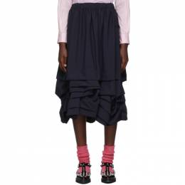 Comme Des Garcons Girl Navy Ruffled Bottom Skirt 192670F09200202GB
