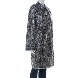 Dolce&Gabbana Grey Coated Silk Floral Lace Pattern Raincoat M 225892