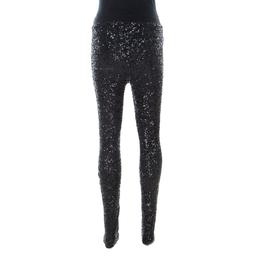 Zadig & Voltaire Black Sequinned Pharrell Sequins Deluxe Leggings M 226280