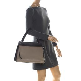 Celine Beige/Black Leather Medium Edge Bag 226516