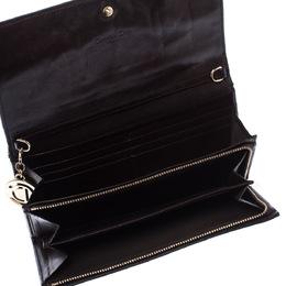 Dior Dark Brown Cannage Leather Lady Dior Flap Wallet