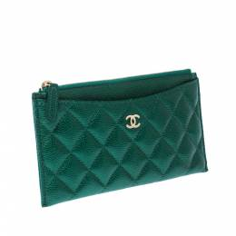 Chanel Green Quilted Leather Phone Wallet 224505