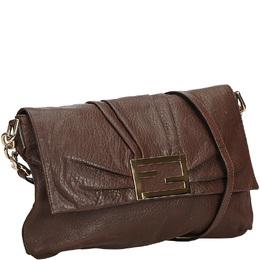 Fendi Brown Leather Mia Crossbody Bag