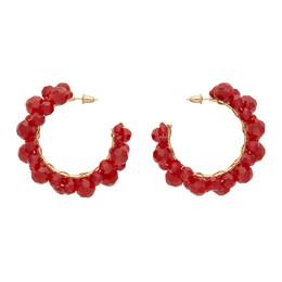 Simone Rocha Red Medium Wiggle Crystal Hoop Earrings 192405F02200901GB