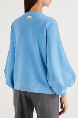 Голубой свитшот с разрезами по бокам Ganni 2979151815