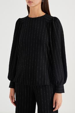 Черная блузка с отделкой в полоску Ganni 2979151807