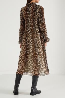 Платье с леопардовым рисунком Ganni 2979151803