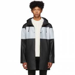 Stutterheim Black Reflective Stripe Stockholm Raincoat 192924M17600405GB