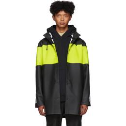 Stutterheim Black Reflective Sleeve Stockholm Raincoat 192924M17600601GB
