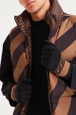 Черные перчатки с контрастной отделкой Fendi 1632152929