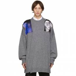 Raf Simons Grey Oversized Patches Sweater 192287M20103202GB