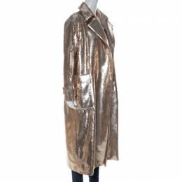 Max Mara Gold Sequinned Wool Long Starlet Coat S 226785