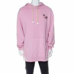 Burberry Light Pink Cotton Equestrian Logo Neon Drawstring Detail Hoodie XL 226780