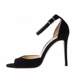 Jimmy Choo Black Suede Annie Ankle Strap Sandals Size 35 226879