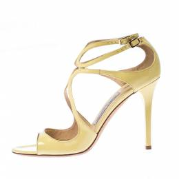 Jimmy Choo Yellow Patent Leather Lang Strap Sandals Size 39.5 226873
