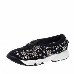 Dior Black Mesh Fusion Crystal Embellished Slip On Sneakers Size 36.5 226936
