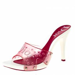 Dior Pink PVC Logo Open Toe Sandals Size 39.5 226240