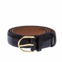 Dior Dark Brown Alligator Leather Buckle Belt 95 CM 225887
