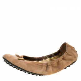 Tod's Brown Suede Leather Scrunch Ballet Flats Size 38.5 226217