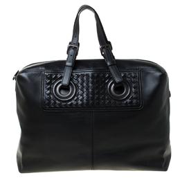 Bottega Veneta Black Intrecciato Leather Large Oculus Duffle Bag 225630