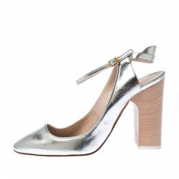 Chloe Metallic Silver Leather Ankle Strap Block Heel Sandals Sizer 38 226823