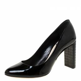 Dior Black Patent Leather Cannage Block Heel Pumps Size 37 226230