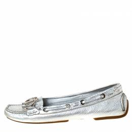 Christian Dior Metallic Silver Leather Logo Slip On Loafers Size 38 226237