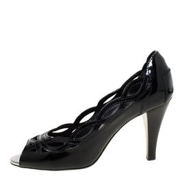 Tod's Black Patent Leather Laser Cut Peep Toe Pumps Size 37 226525