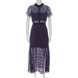 Self-portrait Purple Guipure-Lace Short Sleeve Midi Dress M 226736