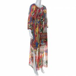 M Missoni Multicolor Printed Cotton Full Sleeve Kaftan Dress M
