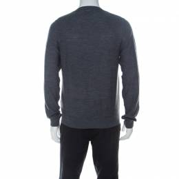 Just Cavalli Grey Wool Lion Print Sweater M 226899