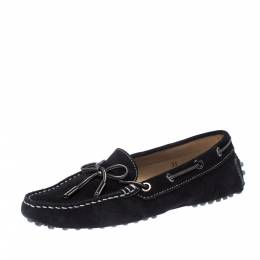 Tod's Black Suede Leather Bow Loafers Size 35 226972