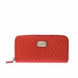 Tod's Coral Orange Signature Patent Leather Zip Around Wallet 226701