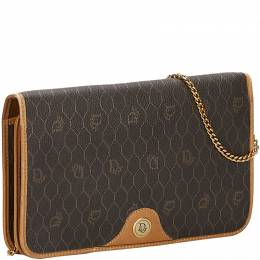Dior Brown Honeycomb Coated Canvas Chain Shoulder Bag 225727
