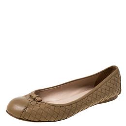 Bottega Veneta Beige Intrecciato Leather Bow Ballet Flats Size 37 226919