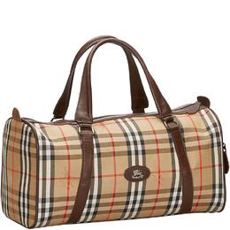 Burberry Brown Haymarket Check Canvas Boston Bag 225739
