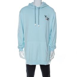Burberry Light Blue Cotton Knit Equestrian Logo Hoodie L 226761