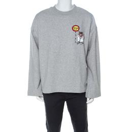 Burberry Grey Knit Embroidered Detail Crew Neck Sweatshirt XL 226767