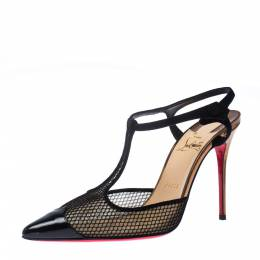Christian Louboutin Black Patent Leather And Lace Mrs Early T Strap Pointed Toe Sandals Size 38.5 226909