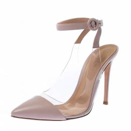 Gianvito Rossi Pink Leather And PVC Anise Pointed Toe Ankle Strap Sandals Size 39 226806