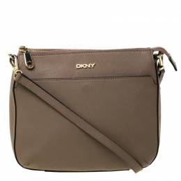 DKNY Dark Beige Leather Top Zip Crossbody Bag 225916