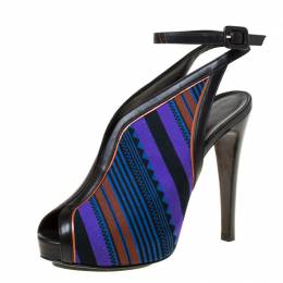 Hermes Multicolor Printed Canvas And Leather Aztec Peep Toe Ankle Strap Sandals Size 36.5 226817