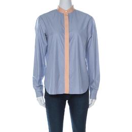 Celine Blue Pinstripe Cotton Contrast Trim Chinese Collar Shirt M 226813