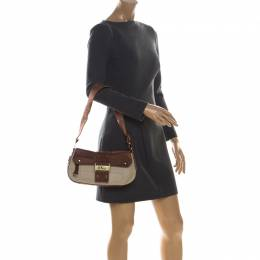 Dior Brown/Beige Leather and Canvas Street Chic Shoulder Bag 225859