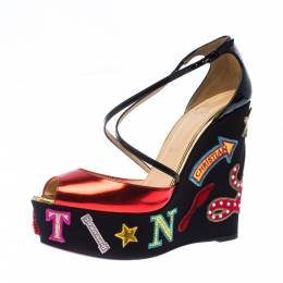 Christian Louboutin Multicolor Patent Leather Loubi Zeppa Wedge Platform Sandals Size 40 226791